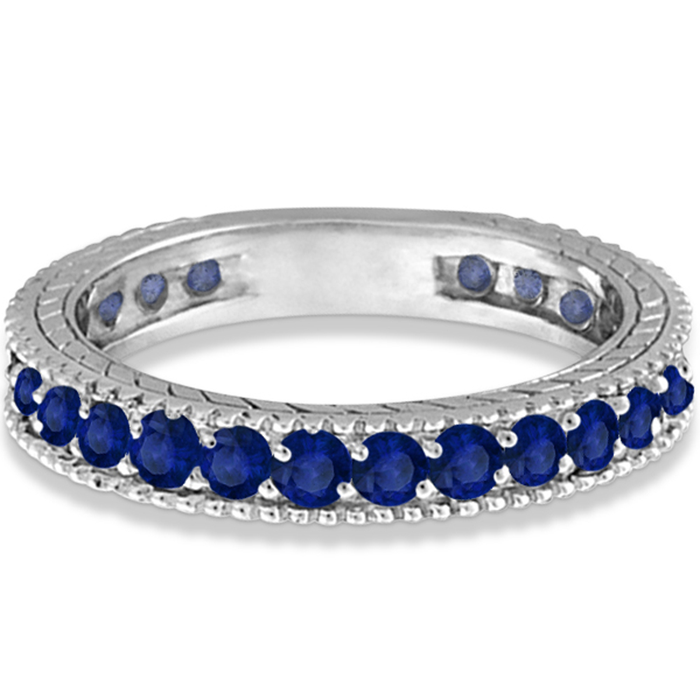 Blue Sapphire Eternity Ring Anniversary Band 14k White Gold (1.16ct)