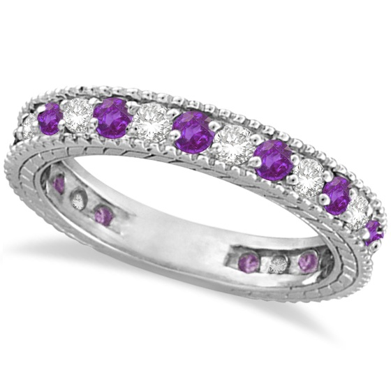 Attrayant Diamond U0026 Amethyst Eternity Ring Band 14k White Gold ...