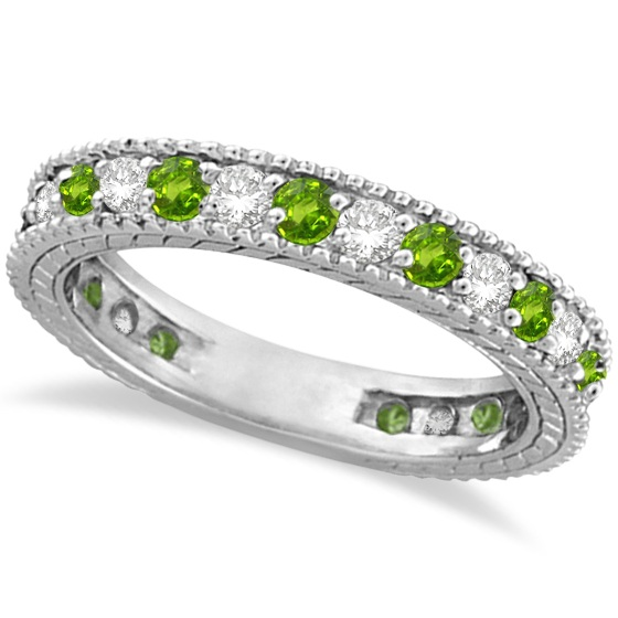 Allurez Diamond and Peridot Eternity Ring Band 14k White Gold (1.08ct) at Sears.com