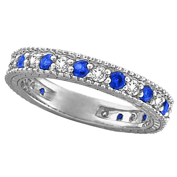 sapphire bands wedding blue and rings gold diamond white band anniversary