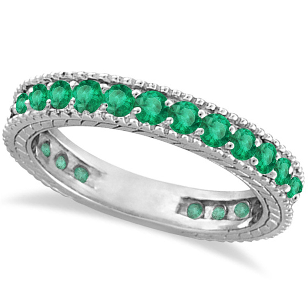cz claddagh silver infinity matching band emerald with and set ring bands