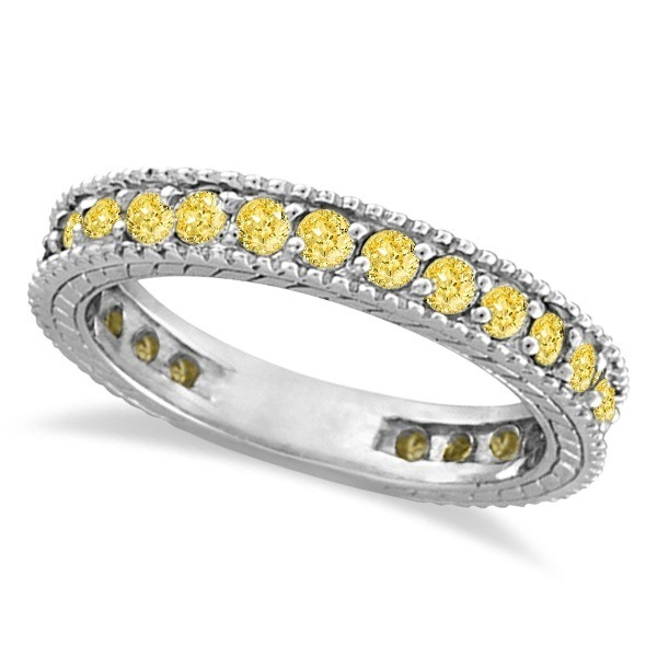 Fancy Yellow Canary Diamond Eternity Ring Band 14k White Gold 1 00ct