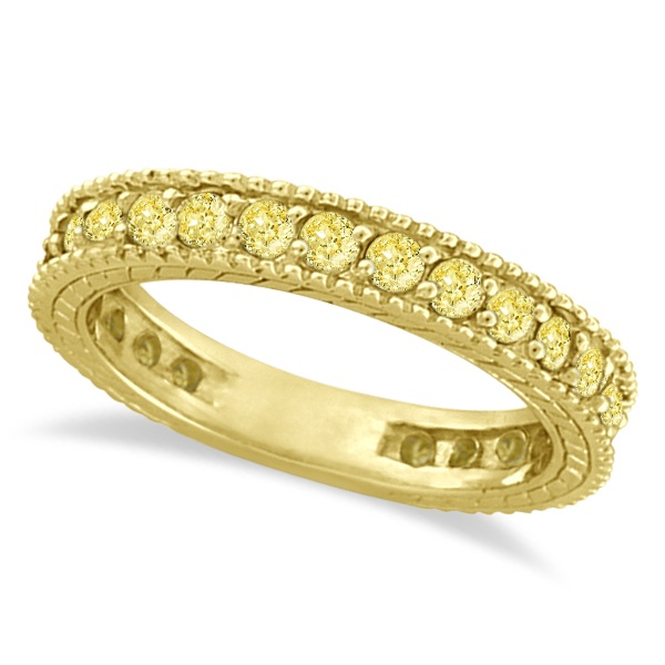 Fancy Yellow Canary Diamond Eternity Ring Band 14k Yellow Gold (1.00ct)