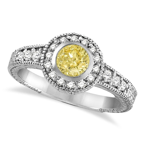 Allurez Yellow Canary and White Diamond Antique Style Rin...
