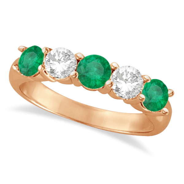 Allurez Five Stone Diamond and Emerald Ring 14k Rose Gold (1.95ctw) at Sears.com
