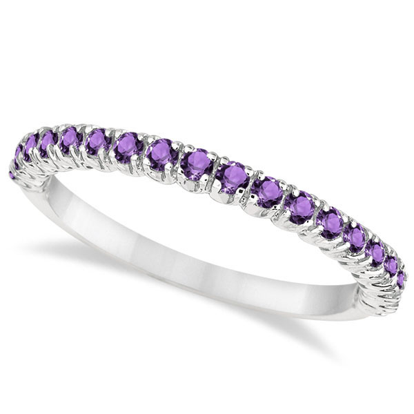 e854d4cd429fb Half-Eternity Pave-Set Thin Amethyst Stack Ring 14k White Gold (0.65ct)