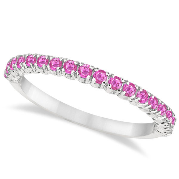 Allurez Half-Eternity Pave Thin Pink Sapphire Stack Ring ...