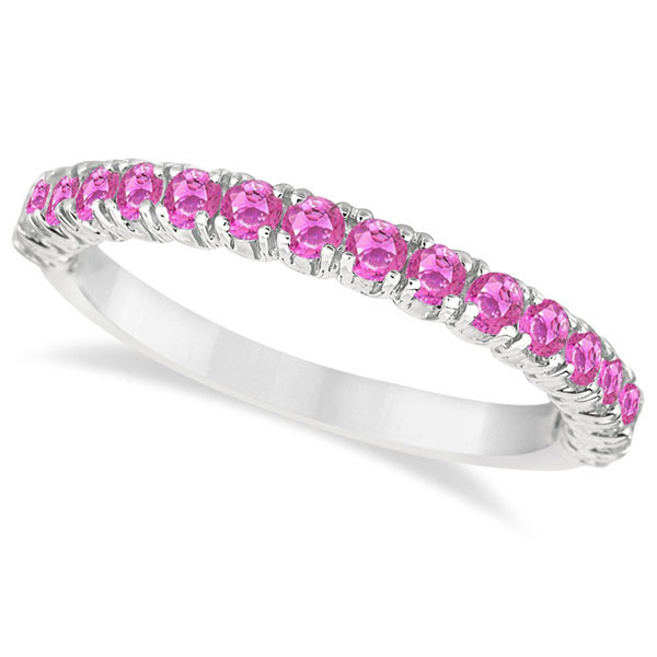 Allurez Half-Eternity Pave Pink Sapphire Stacking Ring 14...