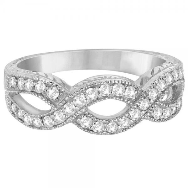 Twisted Diamond Infinity Ring 14k White Gold with Milgrain (0.50ct)