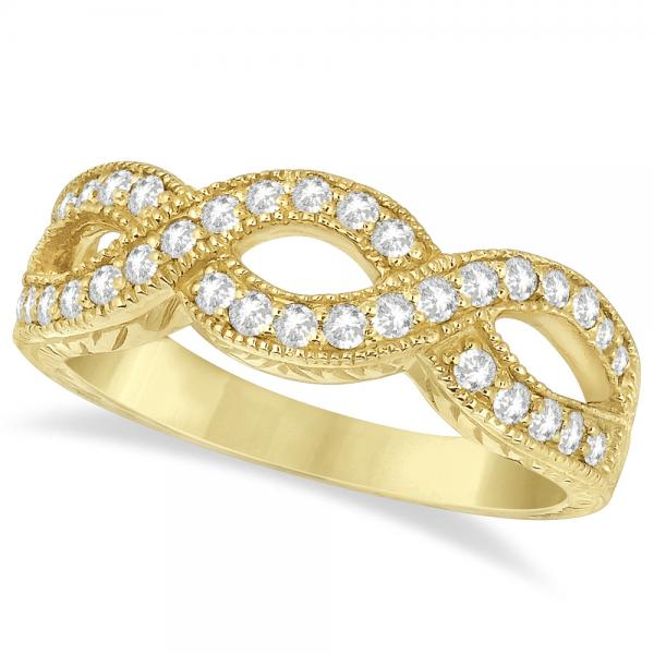 Twisted Diamond Infinity Ring 14k Yellow Gold with Milgrain (0.50ct)