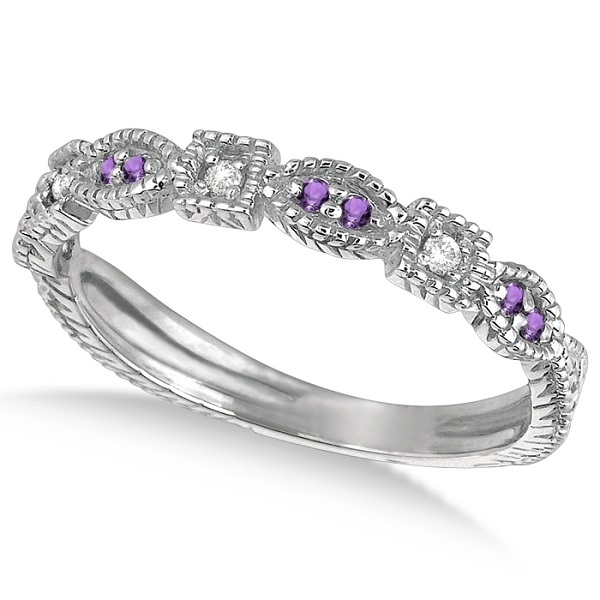 Allurez Vintage Stackable Diamond and Amethyst Ring 14k W...