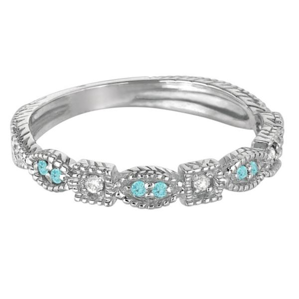 Vintage Stackable Diamond & Aquamarine Ring 14k White Gold (0.15ct)