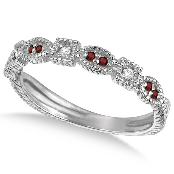 Allurez Vintage Stackable Diamond and Garnet Ring 14k Whi...