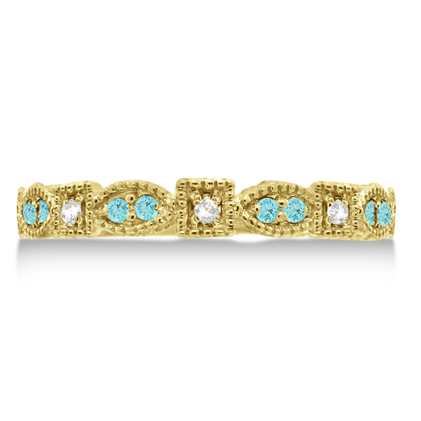 Vintage Stackable Diamond & Aquamarine Ring 14k Yellow Gold (0.15ct)