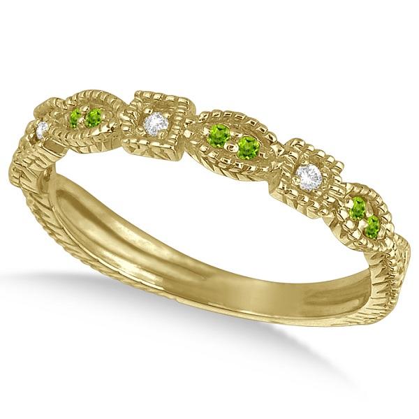Vintage Stackable Diamond & Peridot Ring 14k Yellow Gold (0.15ct)