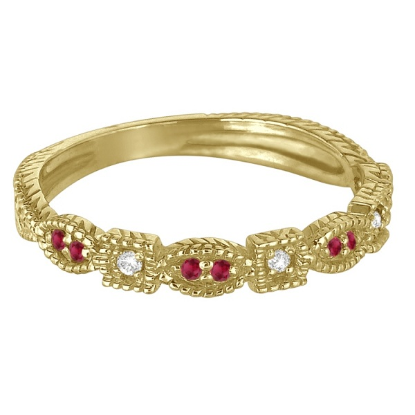 Vintage Stackable Diamond & Ruby Ring 14k Yellow Gold (0.15ct)