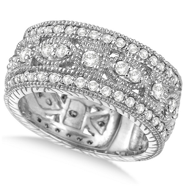 721288f1273 Vintage Style Byzantine Wide Band Diamond Ring 18k White Gold 1.37ct ...