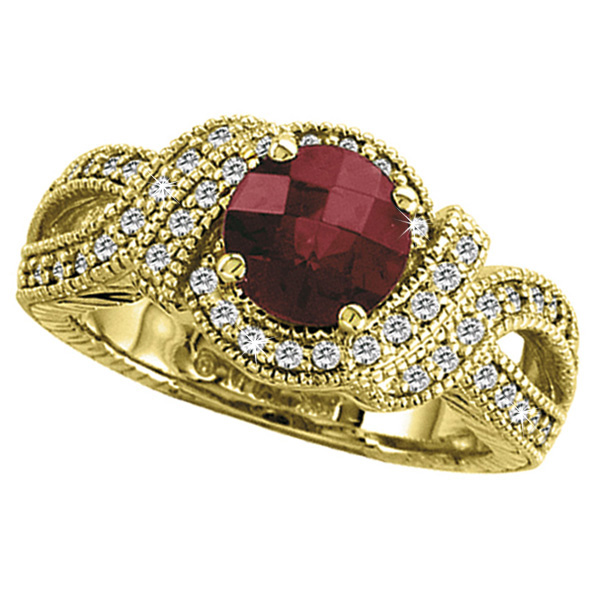 Allurez Rhodolite Garnet and Diamond Ring in 14K Yellow Gold (1.08 ctw) at Sears.com