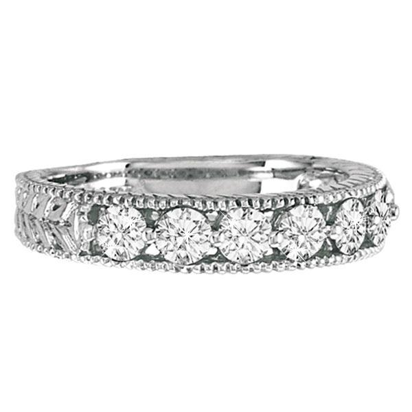 Antique Scrollwork Diamond Wedding Ring Band 14k White Gold (1.04ct)