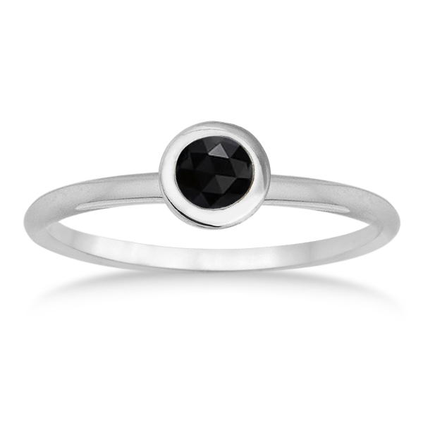 Bezel-Set Solitaire Style Black Onyx Ring 14k White Gold (0.50ct)