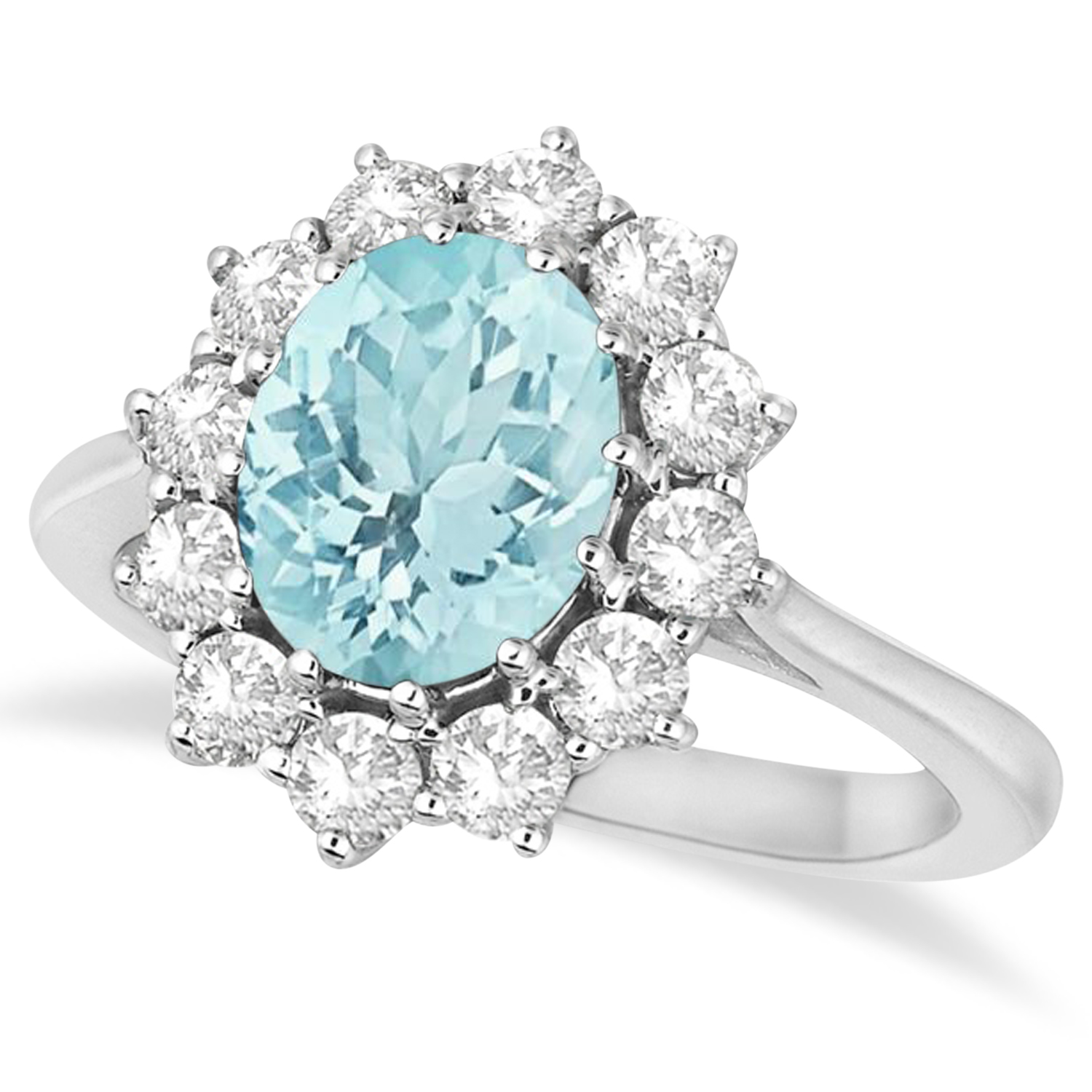 Allurez Oval Aquamarine and Diamond Accented Ring in 14k ...