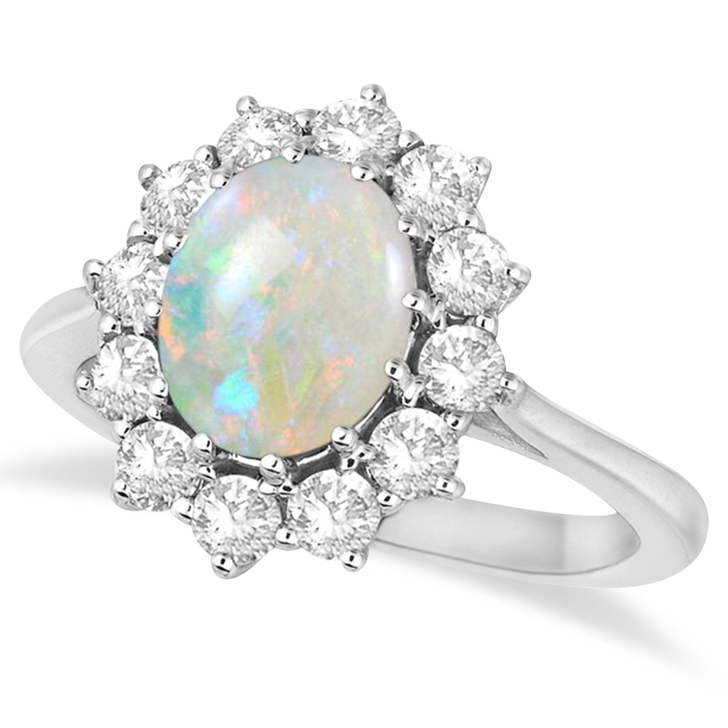 Allurez Oval Shape Opal and Diamond Accented Ring in 14k ...