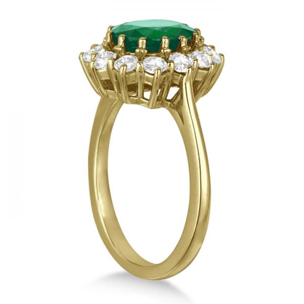 Oval Emerald and Diamond Ring 14k Yellow Gold (3.60ctw)