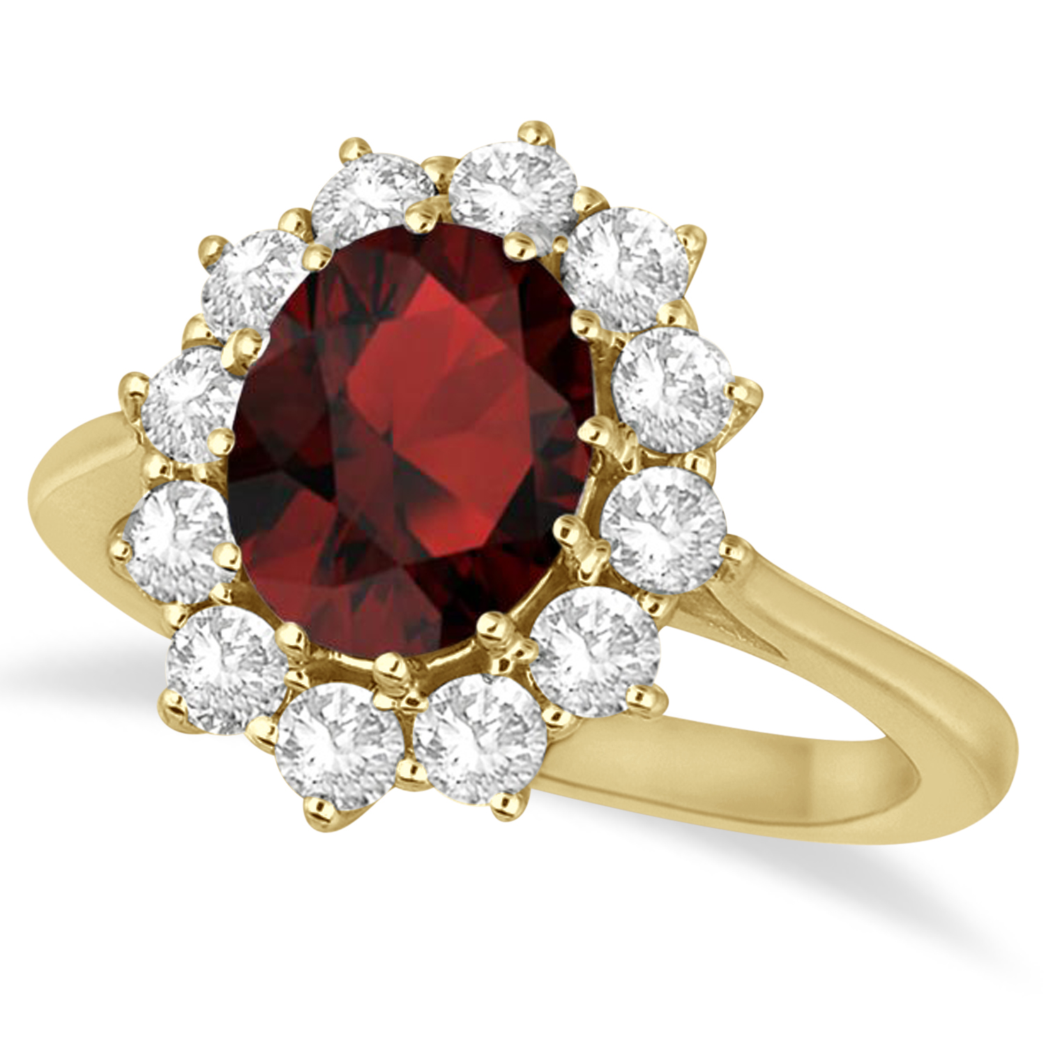 Allurez Oval Garnet and Diamond Ring 14k Yellow Gold (3.6...