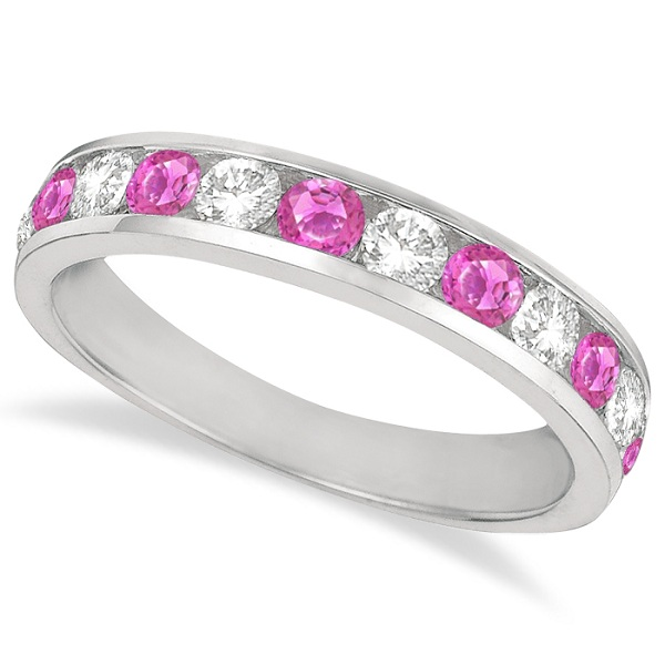 Allurez Channel-Set Pink Sapphire and Diamond Ring Band 14k White Gold (1.20ct)