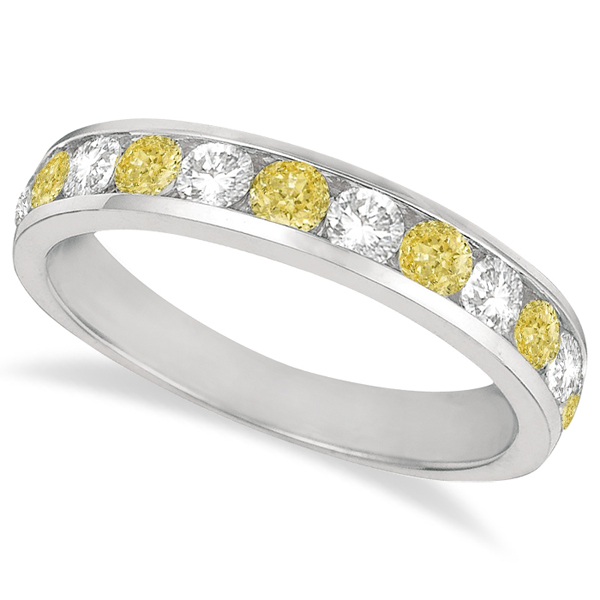 Allurez White and Yellow Canary Channel-Set Diamond Ring ...