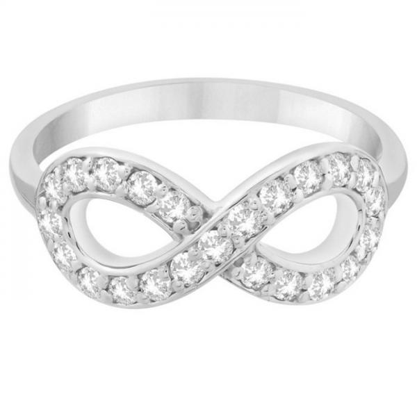 Twisted Diamond Infinity Ring Pave Set in 14k White Gold (0.50ct)