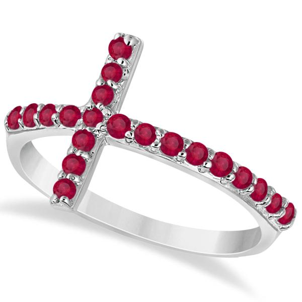 Modern Sideways Ruby Cross Fashion Ring in 14k White Gold (0.42ct)
