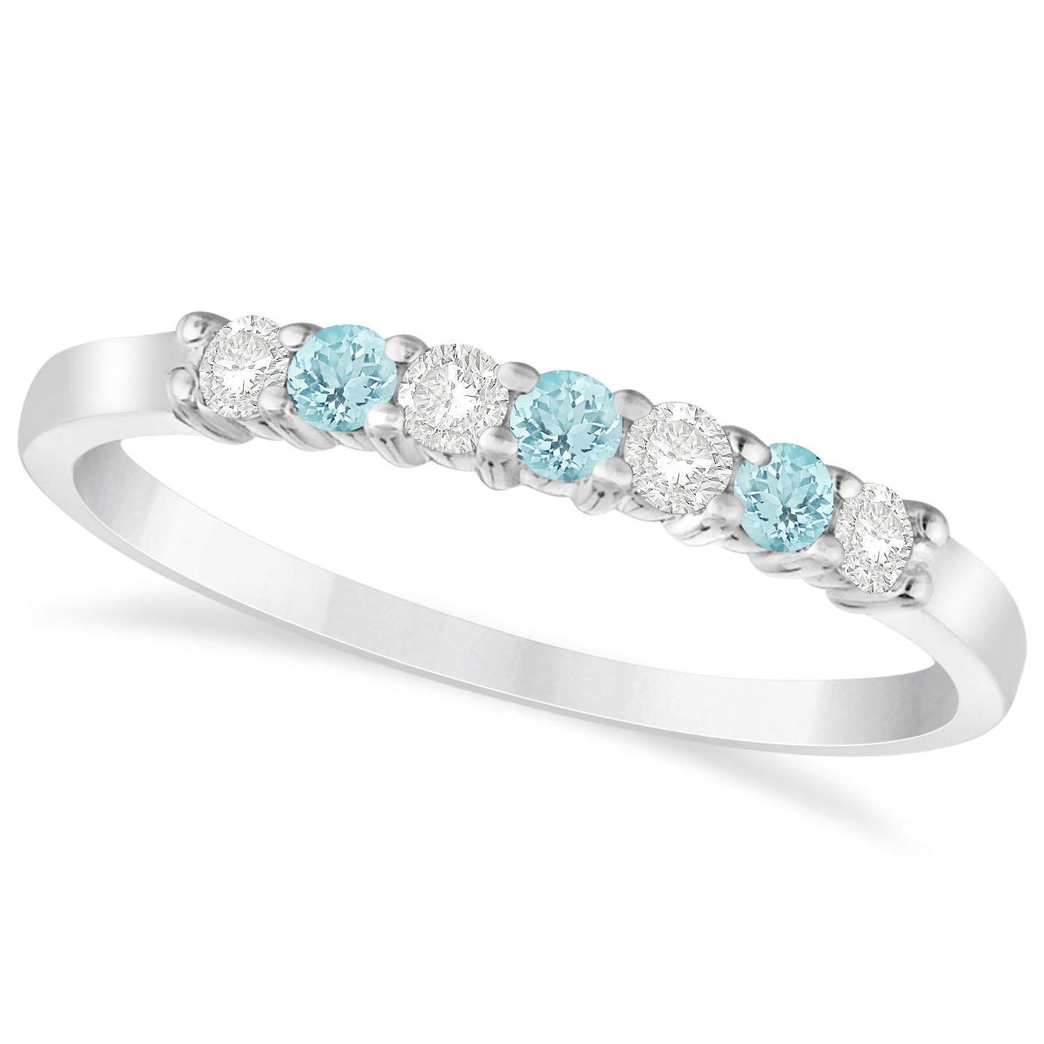 Diamond & Aquamarine 7 Stone Wedding Band 14k White Gold (0.26ct)