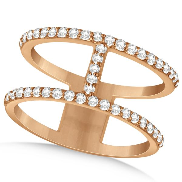 Double Open Circle Abstract Diamond Ring Band 14k Rose Gold 0.45ct