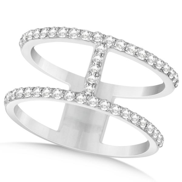 Double Open Circle Abstract Diamond Ring Band 14k White Gold 0 45ct
