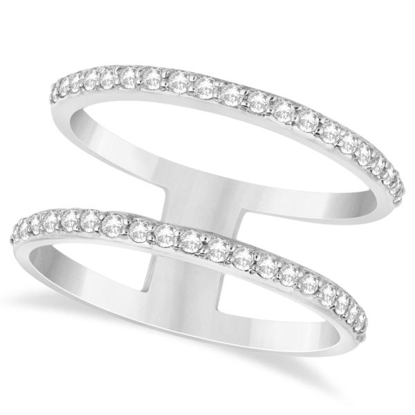 Double Open Circle Abstract Diamond Ring Band 14k White Gold 0 40ct