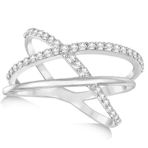 Three Band Intertwined Double X Diamond Ring 14k White Gold 0.42ct