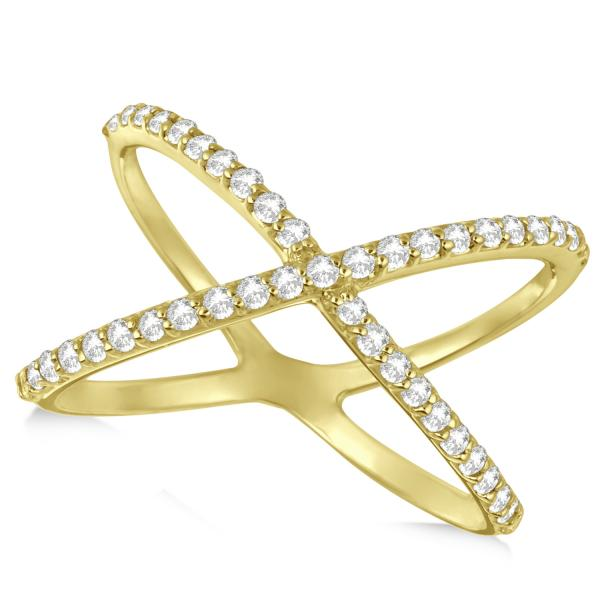 X Shaped Diamond Ring 14k Yellow Gold 0 50ct