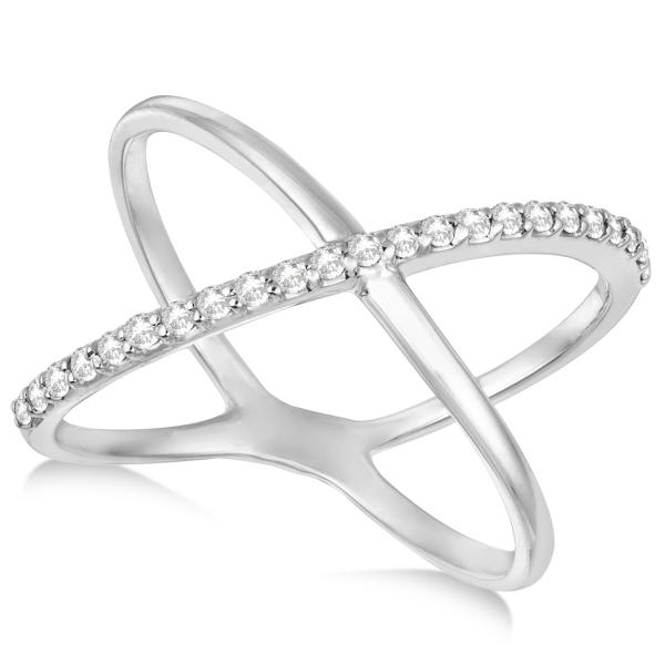 X Shaped Ring with e Row Pave Set Diamonds 14k White Gold 0 25ct