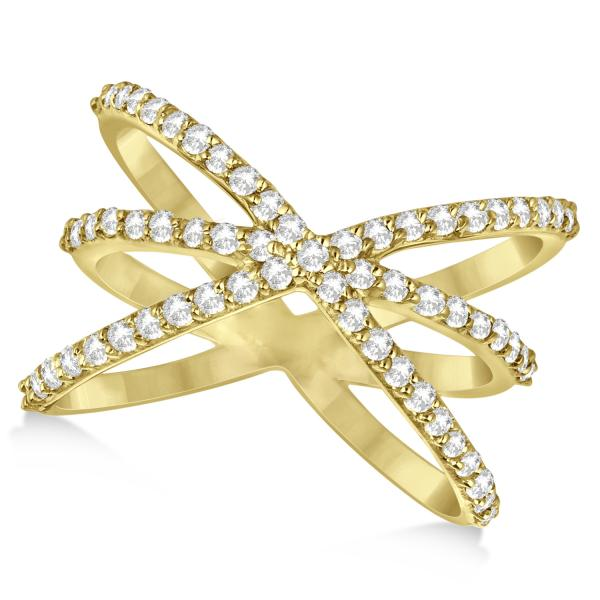 Diamond X Shaped Ring with 3 Orbital Bands 14k Rose Gold 0.65ct.