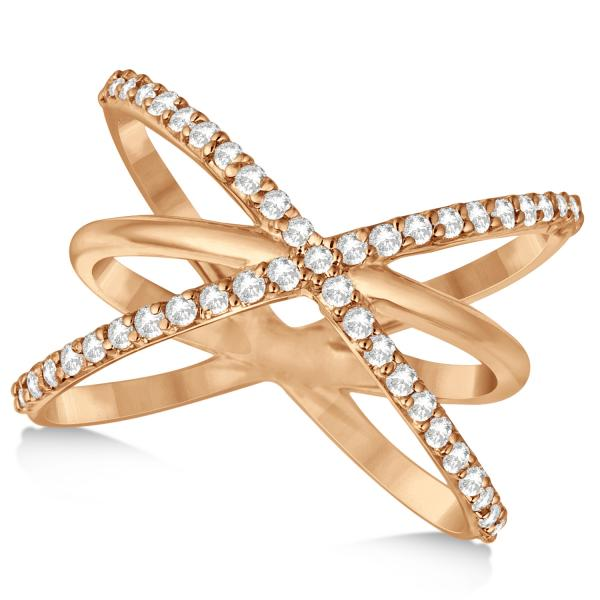 """Diamond """"X"""" Ring with Three Criss Cross Bands 14k Rose Gold 0 50ct"""