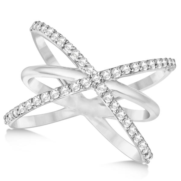 "Diamond ""X"" Ring with Criss Cross Bands 14k White Gold 0 50ct"