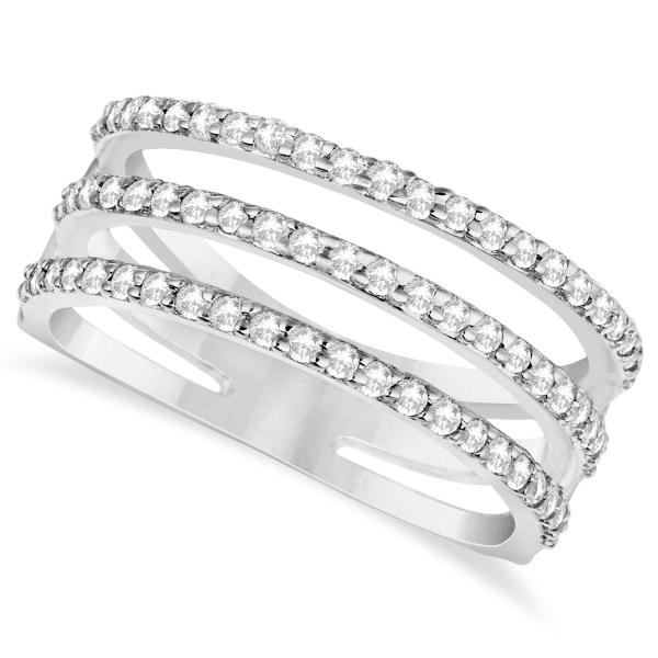 Three Band Diamond Ring Pave Set 14k White Gold 0.60ct - IN391 a09682b6d5