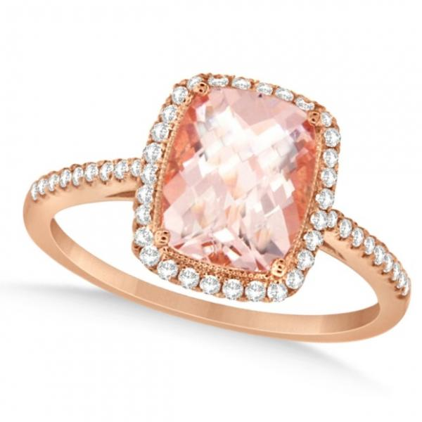 Allurez Cushion Cut Morganite and Diamond Halo Ring 14K R...