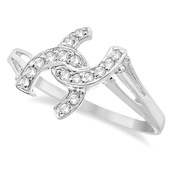 Double Horseshoe Diamond Ring In 14k White Gold 0 10ct