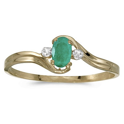 Oval Emerald and Diamond Right-Hand Ring 14K Yellow Gold (0.30ctw)