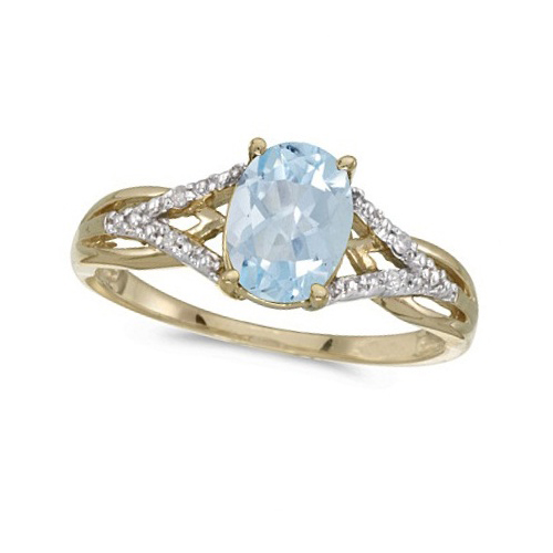 Oval Aquamarine and Diamond Cocktail Ring 14K Yellow Gold (1.20 ctw)