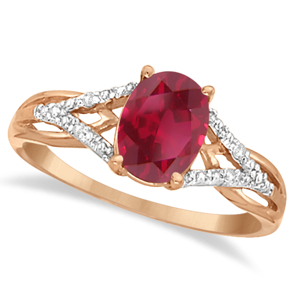 Oval Ruby and Diamond Cocktail Ring in 14K Rose Gold 152 ct Allurez