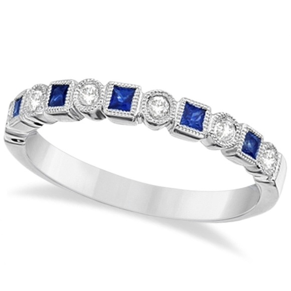 Allurez Princess Cut Blue Sapphire and Diamond Ring Band ...