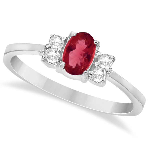 Solitaire Oval Ruby and Diamond Ring 14K White Gold (0.72ct)